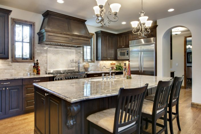 Dark Cabinets & Granite Countertops in Wisconsin