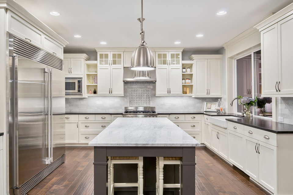 Kitchen with White Cabinets in Waukesha, WI