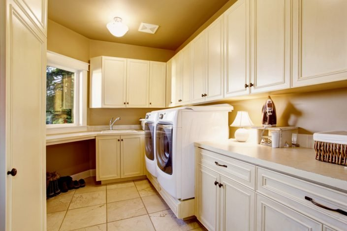 White Laundry Room Countertops