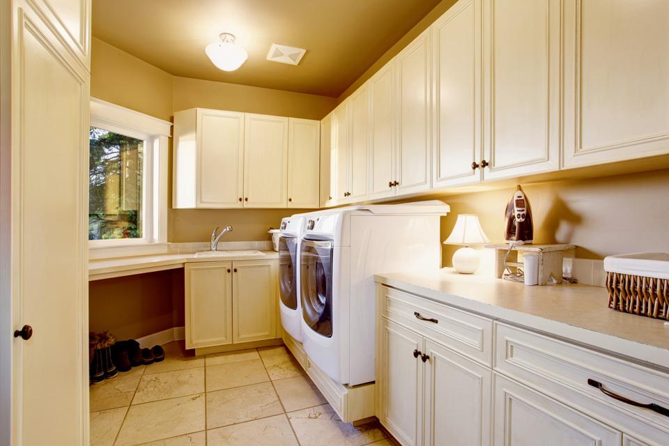 White Laundry Room Countertops